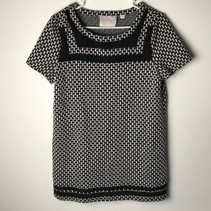 Anthropologie postmark black white tunic top L